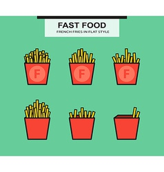 French fries set in flat style vector