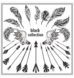 Set of black decorative feathers wings and arrows vector