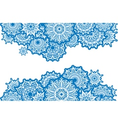 Horizontal Border of white round ornaments vector image