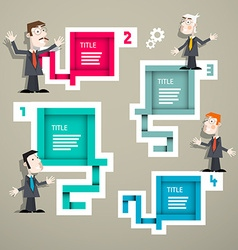 Infographics with businessmen and four steps paper vector