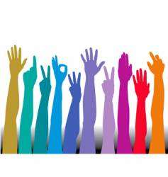 Hands of all races rainbow vector