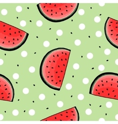 Seamless hand drawn watermelon pattern vector