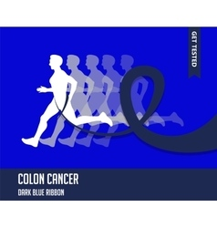 Sport man with running blue ribbon colon cancer vector