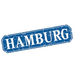 Hamburg blue square grunge retro style sign vector