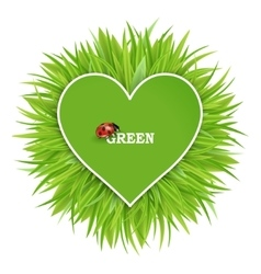 Green banner with grass and hearts vector