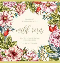 Wild roses floral frame vector
