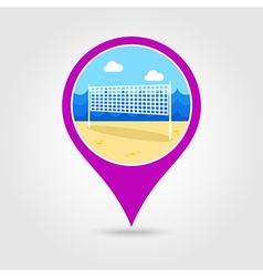 Volleyball net beach sport pin map icon vacation vector