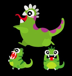 A set of cute cartoon monsters vector image