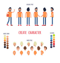 animated character man full length in jeans vector image