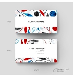 Business card template with floral ornament vector image vector image