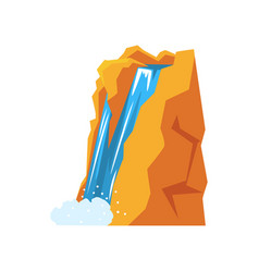Cartoon natural spring waterfall pouring down from vector