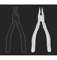 Construction rubber handle pliers icon Chalk vector image vector image