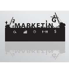 Construction site crane building marketing text vector