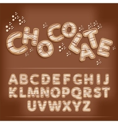 Dark chocolate candy alphabet vector