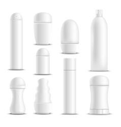 Deodorants white blank realistic set vector