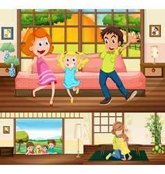 Family staying in the house vector