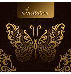 Invitation with golden butterfly vector image vector image