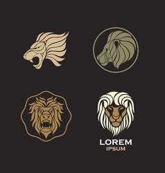 Lion logo design icon set vector