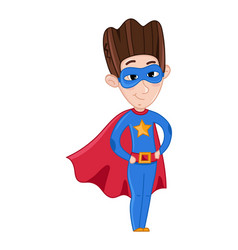 Little boy in superman costume and red cloak vector