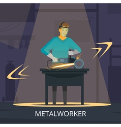 Metalworker production process flat retro poster vector