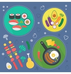 Modern cooking love flat concept kitchen tools vector