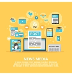 News media flat icons composition poster vector image