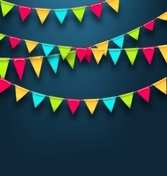 Party Dark Background with Bunting Flags for vector image vector image