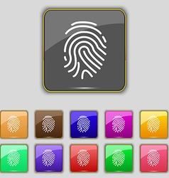Scanned finger icon sign set with eleven colored vector