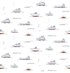 Seamless pattern with doodle ships vector image vector image