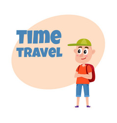 teenage boy tourist with backpack wearing shorts vector image