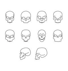 thin line home skull icon set vector image vector image