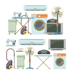 Set of home electronics objects isolated on vector