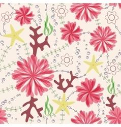 marine flowers vintage seamless pattern vector image