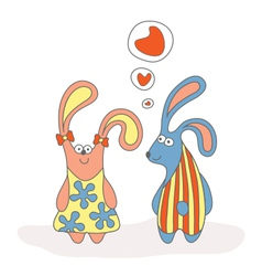 Rabbit in love cartoon vector
