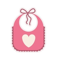 Pink bib with heart silhouette vector