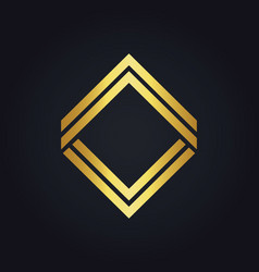 Square line gold geometry logo vector