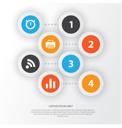 Interface icons set collection of printer wifi vector