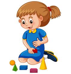 Little girl playing shape blocks vector