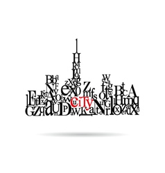 Typography city silhouette vector