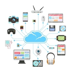 Cloud server and sync of electronic devices vector image