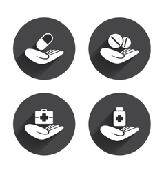 Helping hands icons medical health insurance vector