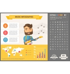 Music flat design infographic template vector