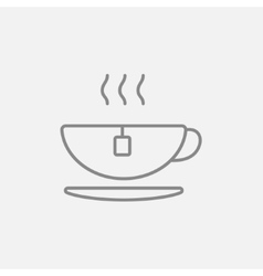 Hot tea in cup line icon vector