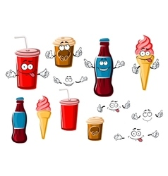Coffee and soda cups drink ice cream vector
