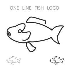 Fish one line logo minimalism style logotype vector