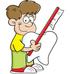 Boy holding a tooth and a toothbrush vector