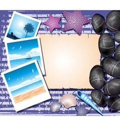 Beachy background with polaroids vector