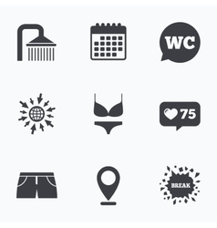 Swimming pool icons shower and swimwear signs vector