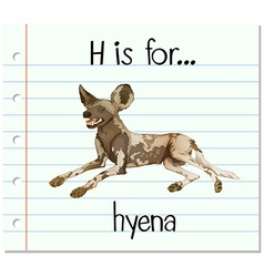 Flashcard letter h is for hyena vector