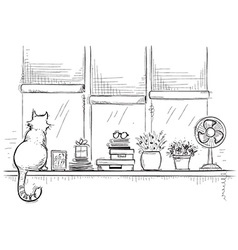 Windowsill with home love objects and cute cathand vector